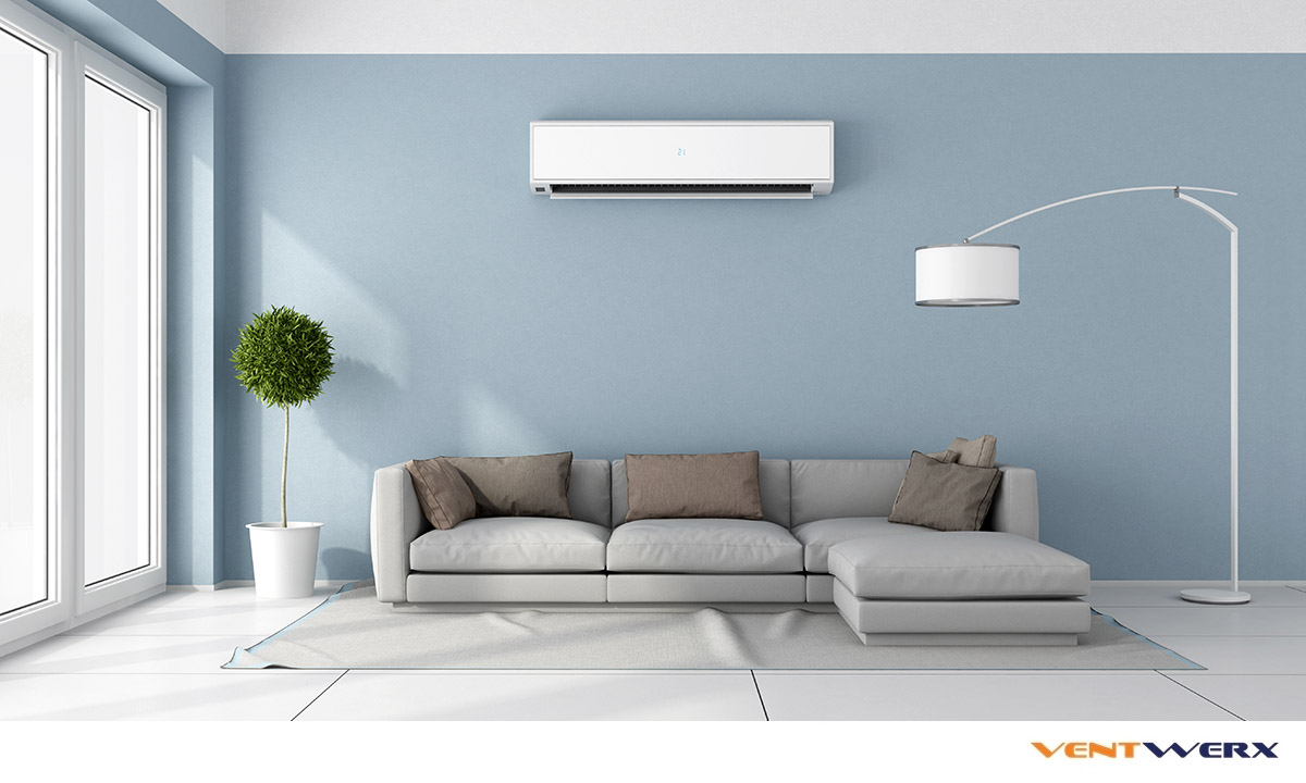 LIving room with air conditioning unit on wall